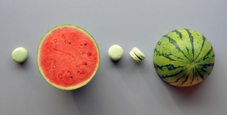 Makroner med vannmelon